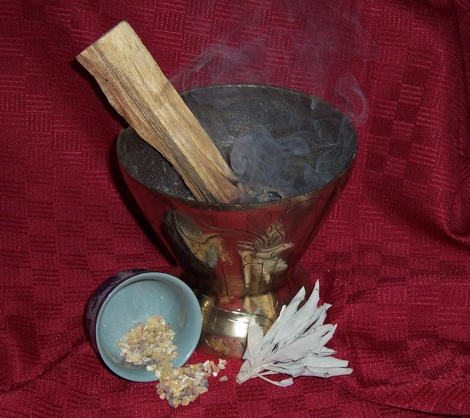 White sage, frankincense and palo santo wood are commonly employed for house clearing.