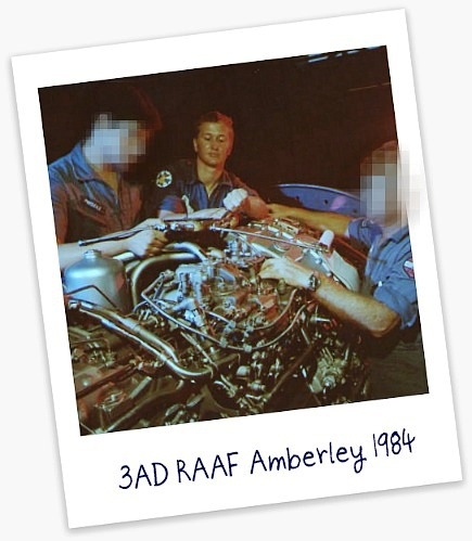 Mark Pasley working on aircraft engine at RAAF Amberley, 1984.